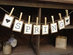 Spring Bunting Banner Garland / Sign for Spring Decoration. www.etsy.com/shop/LaceTwineAndBurlap