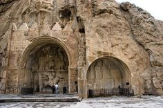 Tagh e Bostan , Iran , Kermanshah. Tagh'e Bostan is a series of large rock reliefs from the Sassanid Era located 5 kilometers from the city center of Kermanshah. It is located in the heart of the Zagros Mountains, where it has endured almost 1,700 years of wind and rain. The carvings, some of the finest and best-preserved examples of Persian sculpture under the Sassanids, include representations of the investitures of Ardeshir II (379–383) and Shapur III (383–388).
