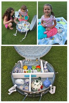 Neatly organize and store your child's tea party set in an old suitcase. Find easy step-by-step instructions for this DIY!