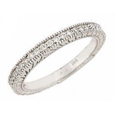0 20ct Women's Diamond Wedding Band Millgrain Edge Antique Style 10K White Gold | eBay