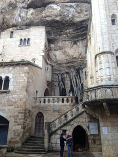 Rocamadour France. The pilgrimage church opens onto a terrace where pilgrims could assemble, called the Plateau of St Michel, where there is a broken sword said to be a fragment of Durandal,
