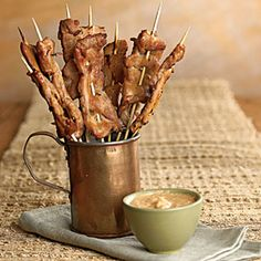 Pork Satay with Peanut Dipping Sauce | MyRecipes.com Very good! Used South Beach Diet peanut sauce