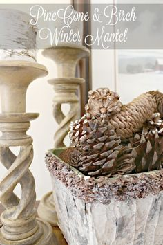 Pinecones and birch come together to create a warm and cozy winter mantel.
