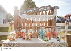 candy buffet...used paper bags with 'thanks' stamped on the fronts...cute &…