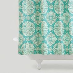 One of my favorite discoveries at WorldMarket.com: Turquoise Amina Medallion Shower Curtain