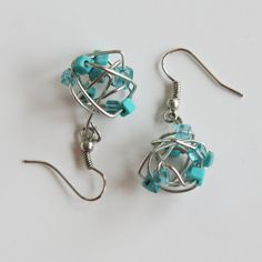 Wire Earrings Turquoise Beaded Jewelry Hand by CraftedLocally.