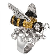 Zirconia Studded Bee Sterling Silver Ring