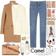 2373. Wear a Camel Coat! by chocolatepumma on Polyvore featuring H&M, STELLA McCARTNEY, Yves Saint Laurent, Fendi, Nanette Lepore, Roberto Coin, Casetify, Burberry, By Terry and Bobbi Brown Cosmetics
