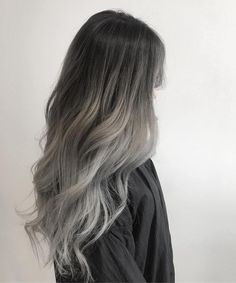 Grey Ombre Hair hair, 10 Hair Trends We Are Happy to Leave Behind This Year Hair Dye Colors, Ombre Hair Color, Cool Hair Color, Ombre Silver Hair, Ash Gray Balayage, Black To Grey Ombre Hair, Brown To Grey Ombre, Dark Silver Hair, Two Color Hair