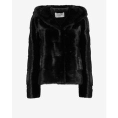 Yves Salomon Chevron Hooded Mink Fur Jacket: Navy ($6,498) ❤ liked on Polyvore featuring outerwear, jackets, navy, yves salomon, black mink jacket, black jacket, hooded mink jacket and lined hooded jacket