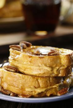 Pumpkin Stuffed French Toast: This wonderful breakfast treat comes together in a snap. Celebrate the flavors of fall!