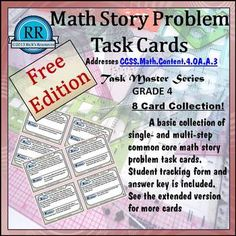 Free Math Story Problem Task Cards