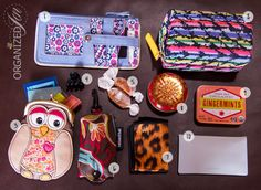 1. Vera Bradley Credit Card Case  2. Small Walking Pharmacy 3. Owl Change Purse that I use to stow lip products and gift cards. 4. Mini Hair Claw.  Don't leave home without one! 5. caramel candy. 6. Reisenthel reusable shopping bag  7. Toddy Gear Smart Cloth 8. Small tin with treats for my dog, Winnie. 9. Trader Joe's Ginger Mints.  Still obsessed. 10. Shiseido Pureness Oil-Control Blotting Paper