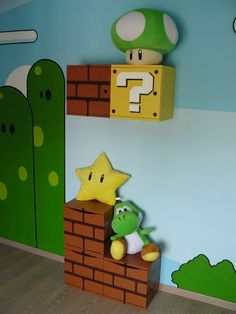 Super_Mario Boxes. I could get those wooden stackable boxes with doors at any store and paint them. Ohh the ideas