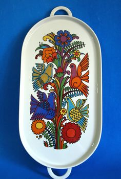 Villeroy & Boch Acapulco Serving Tray - Vintage Mexican Design Birds Flower Power Large Handled Platter - Made in Luxembourg by FunkyKoala on Etsy