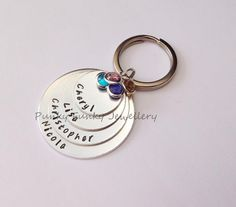 Name birthstone keyring  four stacked disc by PFJewelleryshop