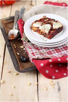 Gratin d'aubergines à la mozzarella et olives noires