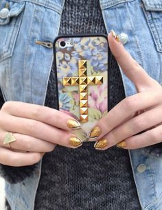 floral print golden cross studded iPhone case,  rivet floral iPhone case #floral #print #studded #iPhone #Case www.loveitsomuch.com