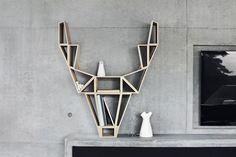 Geometric-Deer-Head-Bookshelf-Design by BeDesign Bookshelf Styling, Bookshelf Design, Bookshelf Ideas, Deer Wood, Geometric Deer, Geometric Drawing, Creative Bookshelves, Turbulence Deco, Minimalist Scandinavian