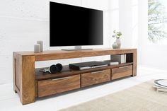 Luxusný TV stolík Elegant z masívu 170 cm Tv Unit Furniture, Eco Furniture, Solid Wood Furniture, Living Room Furniture, Living Room Modern, Home Living Room, Living Room Designs, Living Room Decor, Makassar