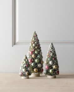 LOVE THESE TREES! VINTAGE STYLE  BOTTLE BRUSH BAUBLE CHRISTMAS TREES~ Set of Three  #Unbranded