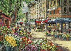 """Скачать Вышивка """"Рынок в Париже"""" kostenlos. А также другие схемы вышивок в разделах: Paris, Abmessungen, Stadtlandschaft, Häuser, Blumen"""