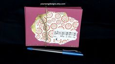 Handmade Pink Card Set 5 with Shiny Polka Dots by YourSongDesigns