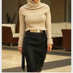 Fall bussiness skirt turtle neck black beige