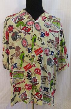 Tampa Bay #Buccaneers #NFL Hawaiian Camp Shirt Size XL  All Over Vintage Print #Football