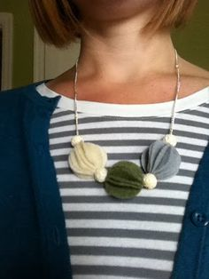 Anthro knock-off necklace DIY--This would be a cute Christmas necklace in red, green, and gold or white.