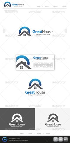 Great House  Logo Design Template Vector #logotype Download it here:  http://graphicriver.net/item/great-house-logo/6208386?s_rank=580?ref=nexion