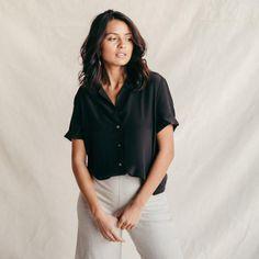 ST. AGNI Yves Silk Button Down Shirt - Black