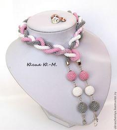 """Купить Лариат """"Серо-розовая дымка"""", жгут из бисера, серый, розовый цвет - серый, розовый"""