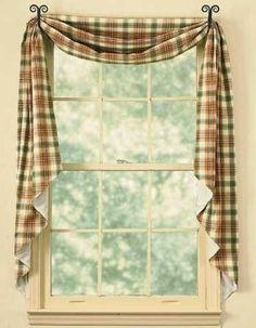 Lemon Pepperfishtail curtain swag from Park Designs.Lemon Pepperplaid ofpersimmon, moss green, and soft mustard. 100% cotton fabric. Fully lined. Fishtail s