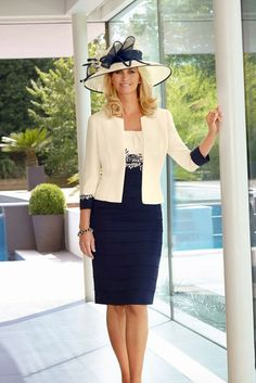 Two tone mother of the bride dresses for the spring and summer usually are light in color.  This elegant two piece ensemble can be recreated in any color combination you need for the wedding.  See other #fashion pieces and wedding attire for the #motherofthebride on our main website.