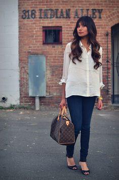 Classy casual look - Louis Vuitton speedy bag <3