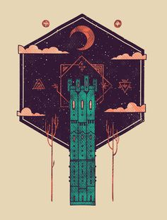 The Tower Azure Art Print by Hector Mansilla   Society6