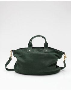 clare vivier messenger bag in bottle green
