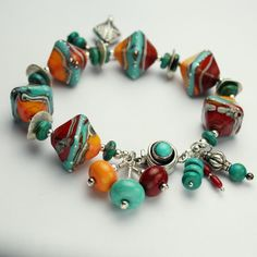 Lampwork Bracelet Sterling Silver Silver by StoneDesignsbySheila, $195.00