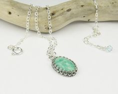 Amazonite Necklace, Sterling Silver Jewelry Handmade, Gemstone Necklace, Green Necklace, Pendant Necklace, Drop Necklace, via Etsy