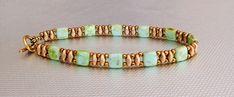 green tila bracelet gold bead bracelet superduo by beadnurse
