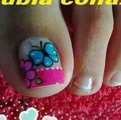 Toe Nail Art, Toe Nails, Pedicure Designs, Nail Designs, Nail Ideas, Nail Polish, Butterfly, Pink, Nail Design