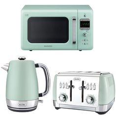 Mint Green Daewoo Retro Microwave + Breville Kettle Toaster Set | eBay