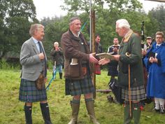 Glenisla Highland Games, the Earl of Airlie presenting a prize at the games. Lord Airlie is the Chief of Clan Ogilvy.