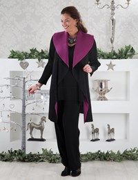 Plus size Amy black/dark fuchsia coat, Tanita top and Remy trouser