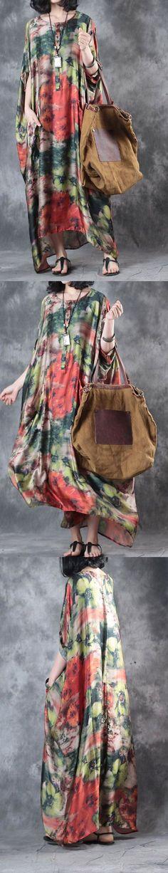 baggy summer multi vintage silk dresses  casual sundress batwing sleeve maxi dress