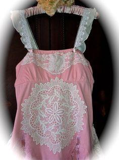 RESERVED MNVR Romantic Boho Fairy Dress Antique Lace Ruffles Ribbon Roses Lace Shabby Chic Feminine Unique Clothing