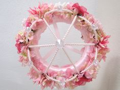 Baby Mobile Flower Crib Mobile Floral Chandelier Shabby Chic Pink Baby Girl Nursery Decor Pearls. $150.00, via Etsy.