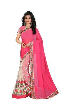 Designer Pink And Beige 60Gm Georgette Half-Half Saree With Rawsilk Blouse Fabric