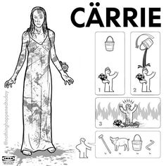 "by nothinghappenedtoday / Ed Harrington: ""They're all gonna laugh at you!"" -- Another entry in my Ikea Instructions series. #Carrie #StephenKing #CarrieWhite #IkeaInstructionscarrie,carriewhite,stephenking,ikeainstructions. location: . date: 1469155987"